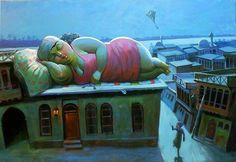 Sleeping Baghdad's Khatoon (lady) 2010  Acrylic on canvas 155×116cm By: Mahmoud F. Abbod