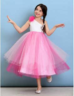 97020a801 Ball Gown One Shoulder Tea Length Tulle Junior Bridesmaid Dress with Flower  by LAN TING BRIDE® / Natural