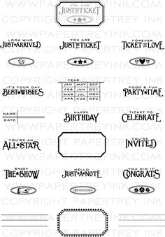 The Vault - Just the Ticket Stamp Set: Papertrey Ink Clear Stamps Dies Paper Ink Kits Ribbon