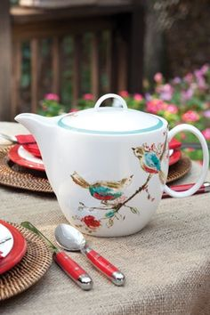 """Beautiful teapot!  I have the plates that go with this pattern, """"Chirp"""" by Lenox"""