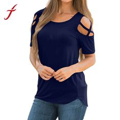 Womens Loose Strappy Cold Shoulder Tops Basic T Shirts Casual Loose Blouse Cold Shoulder Shirt, Shoulder Shirts, Shoulder Tops, Summer Blouses, Summer Shirts, Summer Tops, Dressy Tops, Shirts & Tops, Women's Tops