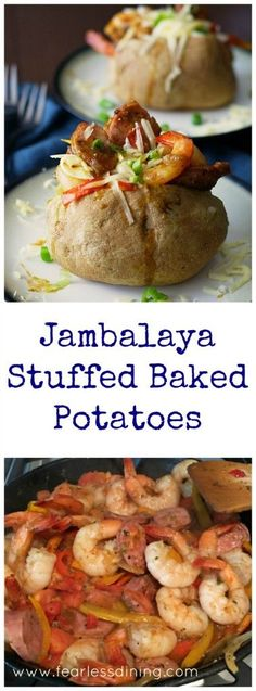 Jambalaya Stuffed Baked Potatoes are a spicy treat to celebrate Mardis Gras with. Found at http://www.fearlessdining.com http://www.fearlessdining.com2016/02/06/jambalaya-stuffed-baked-potatoes-sundaysupper/?utm_content=bufferd5fc6&utm_medium=social&utm_source=pinterest.com&utm_campaign=buffer#_a5y_p=4986707