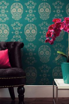 Sugar skull wallpaper. Wallpaper Ideas We Love at Design Connection, Inc. | Kansas City Interior Design http://www.DesignConnectionInc.com