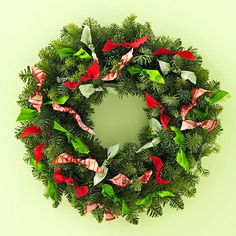easy way to update your old greenery wreath! pick cool fabric and start tying!