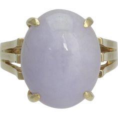 Vintage 14K Gold and Lavender Jade Ring  - found at www.rubylane.com @rubylanecom