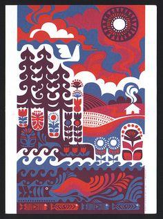 Ihmemaa print by Sanna Annukka for Marimekko. Illustrates the Kalevala (Finnish national epic).
