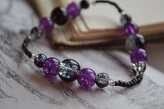 Purple and black simple women's bracelet Gothic / emo / boho inspired by SweetSharpness, £5.00    www.etsy.com/shop/SweetSharpness