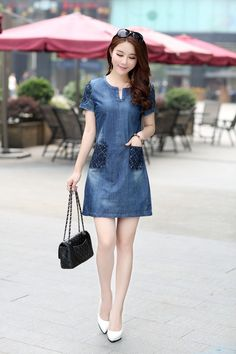Highly recommended!2016 new summer denim dress hot sale women loose fashion jean dress lady slim short sleeve plus size D56