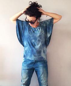 Dip Dye Denim Blue Top Unique Womens Hand Dyed by BannerDesignShop