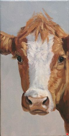 """Eyes On You (original cow portrait oil painting) by Denise Rich Oil ~ 12"""" x 6"""""""