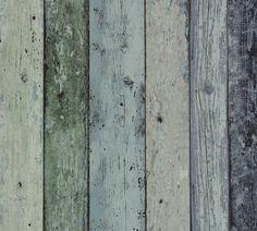 Steigerhout Vliesbehang Antiek Groen/Blauw bij Behangwebshop