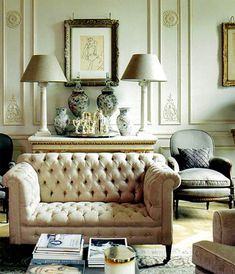 "Interesting combination of elaborate architectural mouldings, objets d'arte, embellishments, fabrics - and yet retaining a wonderful sense of contemporary space and peace. Classic chic. As Joan Rivers would say, ""Gotta have it!"""