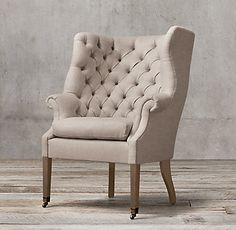 RH's 19th C. English Wing Chair:In the early 19th century, this sort of chair would have offered a cozy haven from drafts and distractions in an English manor house. Today, its lavishly tufted wrap-around back and deep seat provide unparalleled comfort, along with shelter from quotidian concerns.