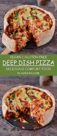 This vegan deep dish pizza is the perfect comfort food on weekends! The recipe is gluten-free and plant-based. You can use your favorite veggies for this yummy pizza pie! #vegan #plantbased #glutenfree #deepdish #pizza #vegancheese   elavegan.com Deep Dish Pizza Recipe, Vegan Pizza Recipe, Pizza Recipes, Cooking Recipes, Vegan Bread, Dinner Recipes, Gluten Free Pizza, Vegan Gluten Free, Gluten Free Recipes