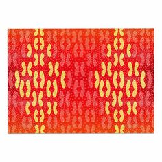 KESS InHouse Dan Sekanwagi 'Butterfly Elements' Red Orange Dog Place Mat, 13' x 18' * New and awesome dog product awaits you, Read it now  : Dog food container