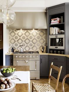 Transitional Gray Kitchen With Ceramic Tiles // Designer Crush: Alison Davin