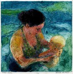First Swim - 7x7 collograph collagraph - Belinda DelPesco