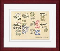 1 Corinthians Rose calligraphy print by Dave Wood, available mounted or framed