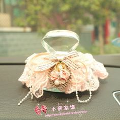 S princess lolita Fashion fabric lace car perfume cover seat car quality   Cover and bottle set 2colors can choose $19.99