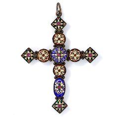Antique French Renaissance Revival Cross Pendant - 90-1-846 - Lang Antiques