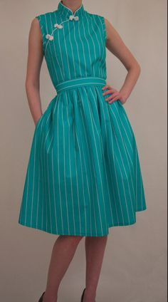 The Wanderer 50's style dress with mandarin by happyyellowdress. , via Etsy.