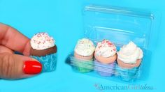 DIY American Girl Doll Cupcakes I was playing around with a few small empty packages that were from craft supplies like beads, buttons and brads, when I thought it would be fun to use them as doll food packages.  I brainstormed with them for a little while and decided they would be perfect to hold the …
