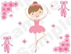 Pink Dancing Ballerina Wall Border. Graphics by Cocoa Mint.