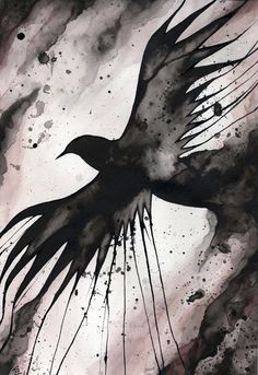 Crow by N. Bianca Carpenter via Etsy. Prints available at society6.com/Blackmagickat