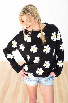 """Sweatshirts - Pullover """"Magic Bus"""" in schwarz mit Blumen - ein Designerstück von Shoko bei DaWanda"""