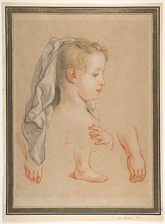 Head of a Young Girl and Studies of Hands and of her Right Foot Charles de La Fosse (French, Paris 1636–1716 Paris) / Black, red and white chalk, touches of yellow and pink pastel, on beige paper.