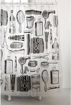Apothecary design shower curtain for a black and white tiled bathroom : ) Vintage Shower Curtains, Cool Shower Curtains, Bathroom Curtains, Downstairs Bathroom, Men's Bathroom, Bathroom Black, Small Bathroom, Bathroom Ideas, Cortina Box