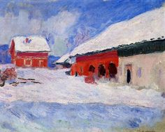 Claude Monet  'Red Houses at Bjornegaard in the Snow'