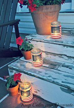 easy patriotic luminaries, crafts, decoupage, patriotic decor ideas, seasonal holiday decor