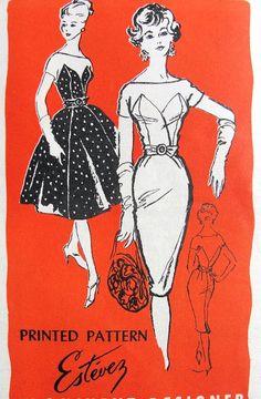 1950s STUNNING Estevez Cocktail Party Dress Pattern Prominent Designer M221 Figure Moulding Sheath or Full Skirt Gorgeous Styles Bust 31 Vintage Sewing Pattern UNCUT