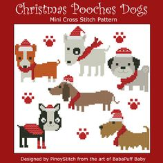 Christmas Pooches dogs is an easy cross stitch sampler for the holiday. Stitch as one project or stitch each dog for a holiday greeting card.