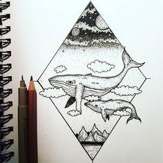 Whale Tattoos, Whale Art, Blue Whale Drawing, Arte Sketchbook, Pen Art, Doodle Art, Cute Drawings, Art Sketches, Creative Art