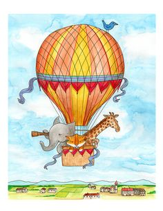 This is a print of an original watercolor painting. It shows a colorful red and yellow hot air balloon carrying 3 animals explorers - an elephant, a