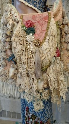Handmade Vintage Lace Shoulder Bag Hippie Tote Crochet Boho Fringe Bag tmyers #Handmade #ShoulderBag