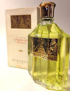Myrurgia Embrujo de Sevilla perfume perfume contains ambergris. Click to see notes Vintage Perfume, Perfume Bottles, Cosmetics, Diy, Beauty, Nostalgia, Retro, Antiquities, Advertising