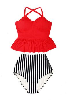 Red Long Peplum Straps Top and Stripe Stripes High Waist Waisted Swimsuit Swimsuits Swimwears Bikini Bikinis set Bathing Swim suit S M L XL by venderstore on Etsy