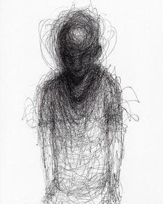 Sad Drawings, Cute Animal Drawings, Art Sinistre, Monochrome, Dark Art Tattoo, Scribble Art, Colossal Art, Creepy Art, Portraits