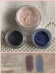 """💫Glamour Doll Eyes is a really cool Indie company that has a gazillion really pretty eye shadows, blushers, highlighters, & lip tints. This is the monthly subscription: 💫""""Exit Light"""": Highlighter with a light pink base + a satiny orange/gold sheen 💫""""For Those About to Rock"""" Eyeshadow: a deep matte plum with Chartreuse & a holographic sparkle 💫""""Space Oddity"""" Eyeshadow: (says it's a deep purple - but looks blue to me under natural light) + green sparkles 💫$11 💫glamourdolleyes.com"""