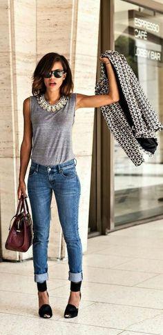 statement necklace, grey tank, great blazer, neutral cropped pants, heels. Good purse