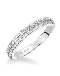ArtCarved 31-V565W-L Jasmine, Double row prong set diamond wedding band with milgrain detail to match 31-V565.