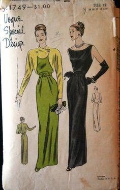 VSD S-4749 Evening Dress/Bolero 40s Sz12/30/33 Instep length skirt has soft pleats each side of centre front,& joins the bodice at waistline.Soft pleats at shoulders release bust fullness.Low round neckline in front,very low cut back w/shoulder straps.  Bolero w/long fitted sleeves cut in one w/fronts & back.Cut out shaped fronts button high below built-up neckline.c/c/used/unprinted env fair 57+2.32 18bds 6/17/14