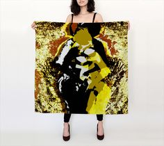 Secret Meeting Square Scarf by Ingrid Kamerbeek. Artwork printed on fabric and finished into a lovely square scarf Secret Meeting, Square Scarf, Different Fabrics, Silk Scarves, Artwork Prints, Printing On Fabric, Sequin Skirt, Chiffon, Satin