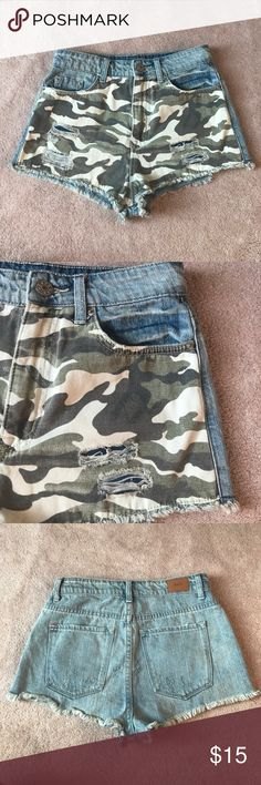 NWOT Urban camo high waisted, cheeky shorts Never worn, NWOT Urban camo/denim high waisted, cheeky shorts! Super cute Urban Outfitters Shorts Jean Shorts