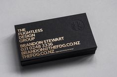 The Flightless Design Group Business Card - Foil stamped and hand embossed with a cast iron custom embossing press