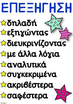 Δωρεάν ΑΦΙΣΑ για ΕΠΕΞΗΓΗΣΗ Vocabulary Exercises, Grammar Exercises, Learn Greek, Greek Language, Speech Therapy Activities, Learning Disabilities, Classroom Management, Special Education, Elementary Schools