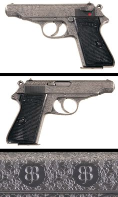 Engraved Pre-World War II Walther Commercial Model PP Semi-Automatic Pistol. Rifles, Fire Powers, Arm Armor, Cool Guns, Guns And Ammo, World War Ii, Firearms, Hand Guns, Weapons